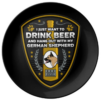 Rottweiler I Just Want To Drink Beer Plate