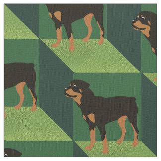Rottweiler on Green Cubes Fabric