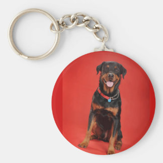 Rottweiler on Red Key Ring