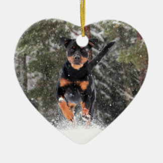 Rottweiler Ornament-Running In Winter Snow Ceramic Ornament