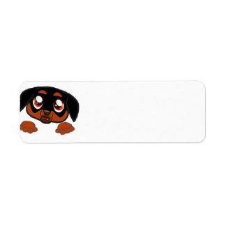 rottweiler peeking rust return address label