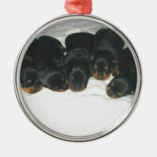 Rottweiler Puppies Metal Ornament