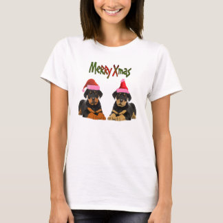 Rottweiler puppies santa hat T- Shirt