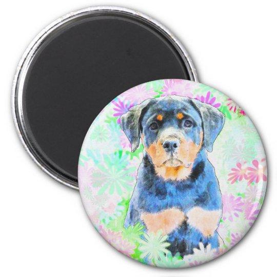 Rottweiler Puppy 6 Cm Round Magnet