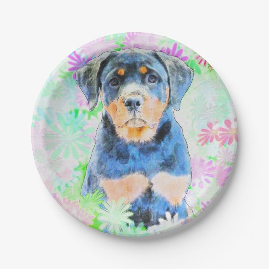 Rottweiler Puppy 7 Inch Paper Plate