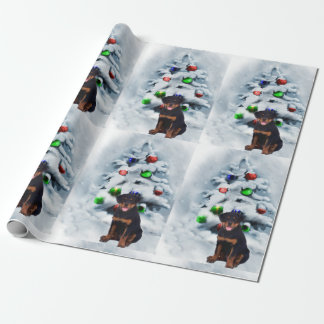 Rottweiler Puppy Christmas Wrapping Paper