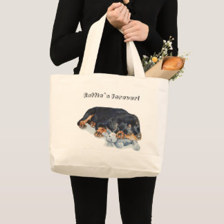 rottweiler puppy cuddling teddy dog portrait art large tote bag