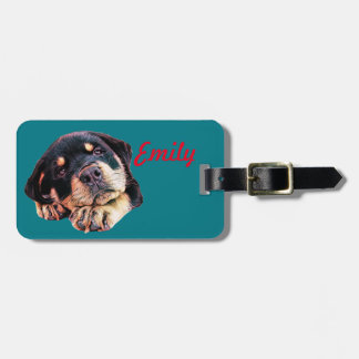 Rottweiler Puppy Love Rott Dog Canine German Breed Luggage Tag