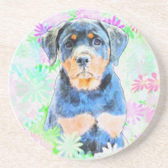 Rottweiler Puppy Sandstone Coaster