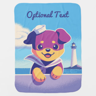 Rottweiler Puppy Sea Dog Sailor Baby Blanket