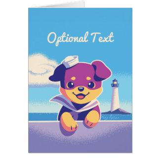 Rottweiler Puppy Sea Dog Sailor Card