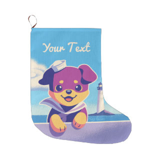 Rottweiler Puppy Sea Dog Sailor Large Christmas Stocking