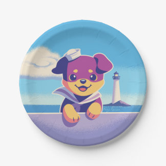 Rottweiler Puppy Sea Dog Sailor Paper Plate