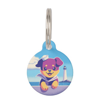 Rottweiler Puppy Sea Dog Sailor Pet Name Tag