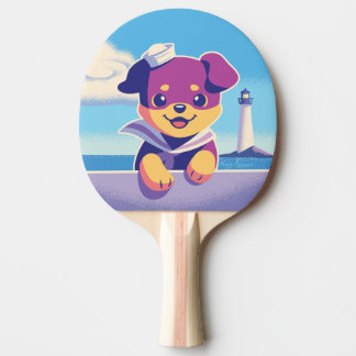 Rottweiler Puppy Sea Dog Sailor Ping Pong Paddle