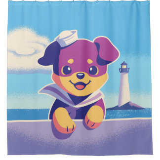 Rottweiler Puppy Sea Dog Sailor Shower Curtain