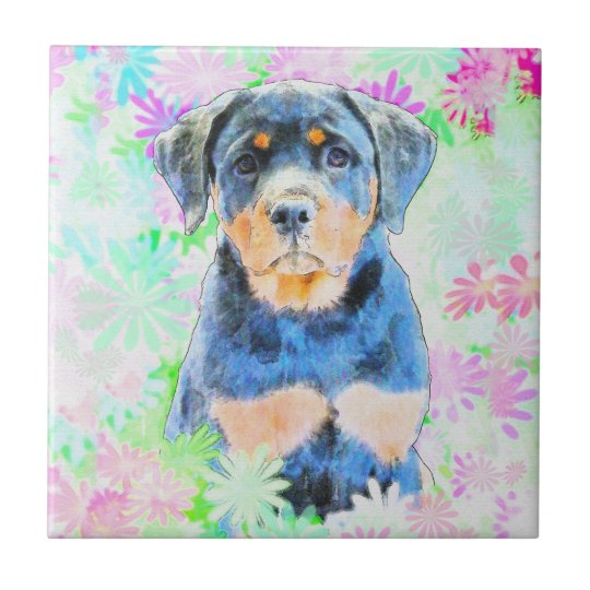 Rottweiler Puppy Small Square Tile