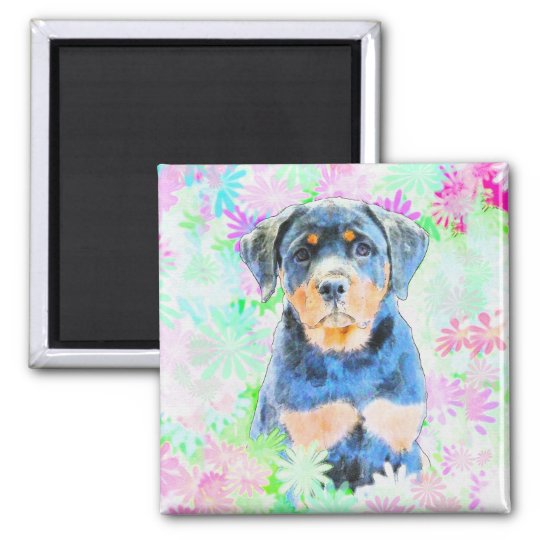Rottweiler Puppy Square Magnet