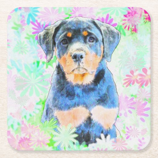 Rottweiler Puppy Square Paper Coaster