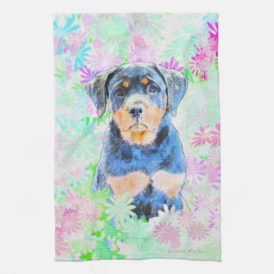 Rottweiler Puppy Tea Towel
