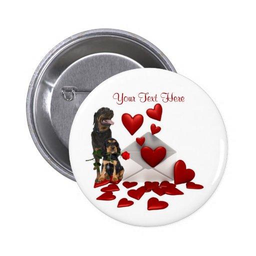 Rottweiler  Red Rose Valentine Design Button