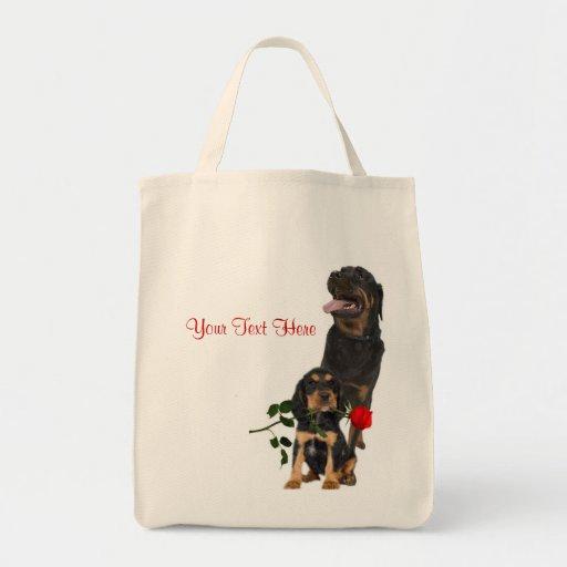 Rottweiler  Red Rose Valentine Design Canvas Bag