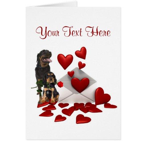 Rottweiler  Red Rose Valentine Design Cards