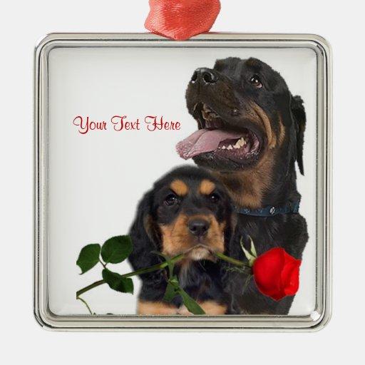Rottweiler  Red Rose Valentine Design Christmas Ornaments