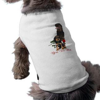 Rottweiler  Red Rose Valentine Design Doggie Tee