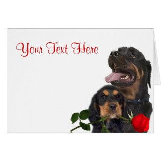 Rottweiler  Red Rose Valentine Design Greeting Card