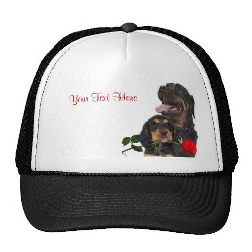 Rottweiler  Red Rose Valentine Design Trucker Hat