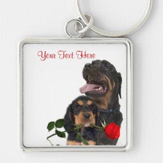 Rottweiler Red Rose Valentine Design Key Chains