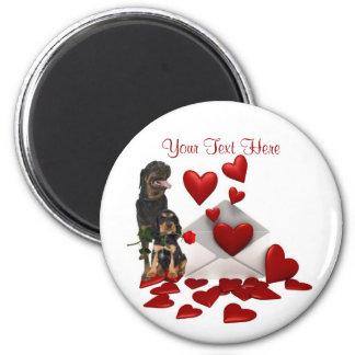 Rottweiler  Red Rose Valentine Design 6 Cm Round Magnet