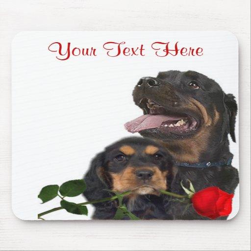 Rottweiler  Red Rose Valentine Design Mousepads