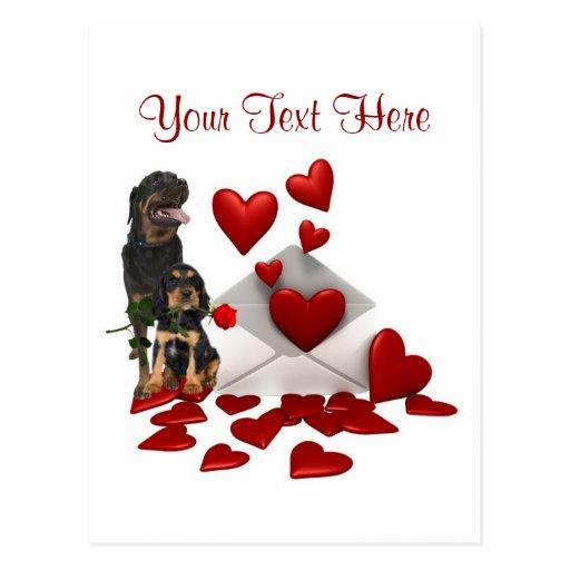 Rottweiler  Red Rose Valentine Design Postcards