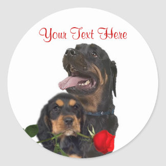 Rottweiler  Red Rose Valentine Design Round Sticker