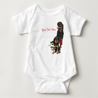 Rottweiler  Red Rose Valentine Design Shirts