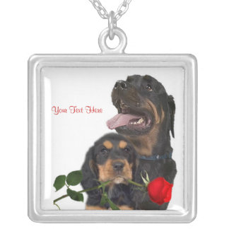 Rottweiler  Red Rose Valentine Design Square Pendant Necklace