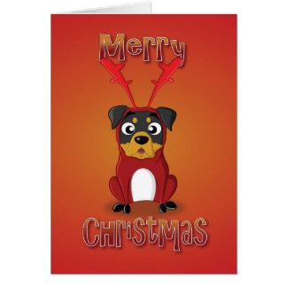 rottweiler - reindeer costume - merry christmas card