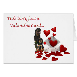 Rottweiler Rose and Hearts Valentine Card