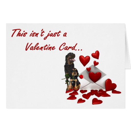 Rottweiler Rose and Hearts Valentine Cards