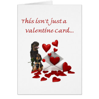 Rottweiler Rose and Hearts Valentine Greeting Card