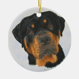 Rottweiler Round Ceramic Decoration