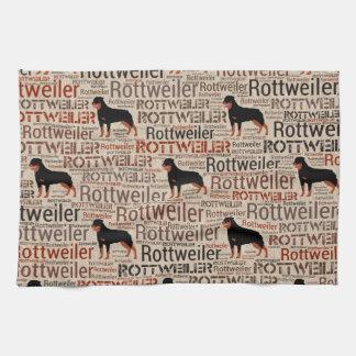 Rottweiler silhouette and word art pattern tea towel