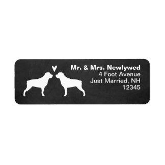 Rottweiler Silhouettes Love Return Address Return Address Label