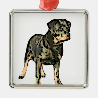 Rottweiler Silver-Colored Square Decoration