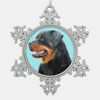 Rottweiler Snowflake Pewter Christmas Ornament