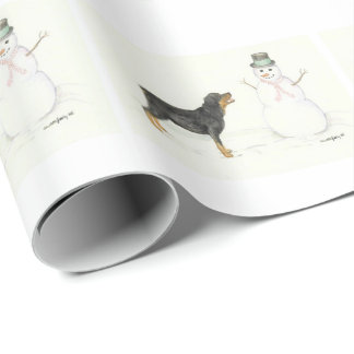 Rottweiler Snowman Dog ArtChristmas Wrapping Paper