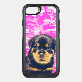 Rottweiler with Pink Camo OtterBox Commuter iPhone 8/7 Case