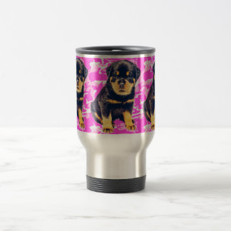Rottweiler with Pink Camo Travel Mug